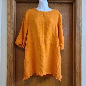 Bryn Walker Orange Linen Lagenlook Tunic Shirt M
